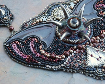 Vampire Slayer Bead Embroidered Statement Necklace