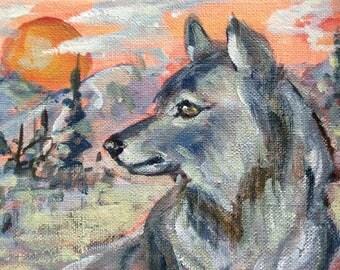 "Wolf  Painting Totem animal woodland animals oil painting original art 5 x7"""