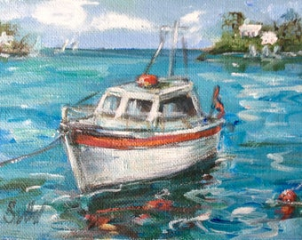 White boat  seascape  original painting 5 x 7""