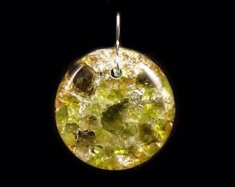 Moldavite Peridot Orgone Energy Pendant with Arkansas, Petalite & Phenacite Crystals, Elite Shungite, Tourmaline, Selenite, Rhodizite (d32)