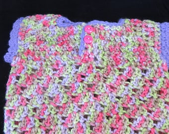 Crochet Newborn Summer Top Purple Multicolor