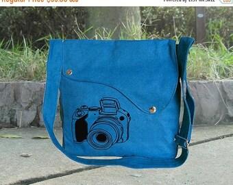 On Sale 20% off Screenprinted blue cotton canvas messenger bag, shoulder bag, travel bag, canvas diaper bag