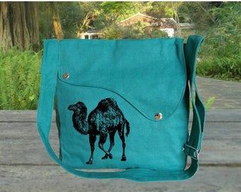 Big Sale - 20% off Personalized screenptinted turqoise green cotton canvas messenger bag, shoulder bag, crossbody bag, travel bag.