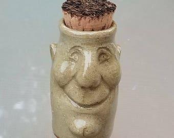 Handmade Pot Head Stash Jar, (FREE Pottery GIFT with Order) Sculpted Ceramic Jar, #1