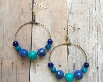 Cool blue beaded dangle earrings