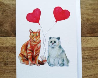 A6 Cat Couple Card