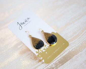 Black and Gold Teardrop Earrings, Black Teardrop Earrings, Gold Teardrop Earrings, Bronze Earrings, Gold Bridesmaid Earrings, Prom Earrings