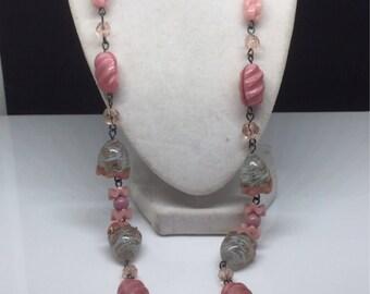Art Deco Pressed Czech Glass Necklace with Pink, White & Aventurine Swirl Circa 1940/50s