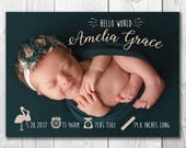 Birth Announcement Card*5x7*Baby Announcement*Personalized Photo*Custom*Digital File*Printable
