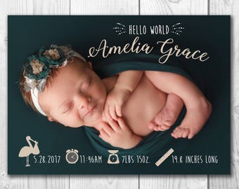 Birth Announcement Card*5x7*Baby Announcement*Personalized Photo*Custom*Digital File*Printable*Single Sided