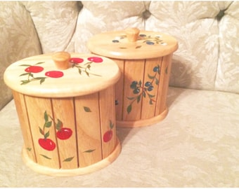 Rustic Wooden Canisters With Hand Painted Cherries And Blueberries Rustic Kitchen  Canister Set Of Two Cherry