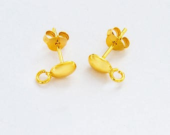 2 Pairs of 925 Sterling Silver 24K Gold  Vermeil Style Oval Earrings Post with opened loop 4x6 mm.  :vm1044