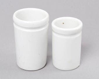 Se of 2 Antique miniature white porcelain bottles, jar, pot