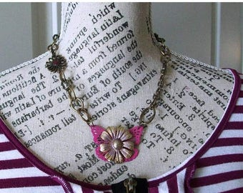 SALE Pink Butterfly with a Golden vintage Flower focal on a antique bronze chunk recycled chain with unique clasp
