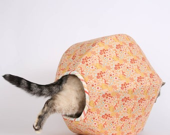 Woodlands Flower cat bed; Coral Flower Fabric Cat Bed; Coral and blue flowers fabric cat bed; Cave Style Cat Bed - Cat Ball Modern Pet Bed
