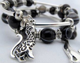 Black Agate memory wire Silver 3 coils with cat charms