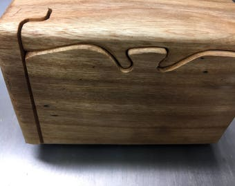 Handcrafted 4 Piece Catalpa Puzzle Box with inner compartment