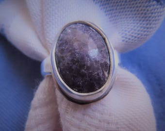 Lavender Purple Lepidolite in Argentium Sterling Ring Size 5 & a Half
