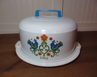 "Kromex Enameled Cake Carrier, Holder, Tin, Cake Keeper, Corning Friendship Pattern, See Description, ""As Is"""