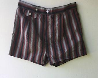 1960s Vintage Mens Strioed Short Swin Trunks // Size Sm