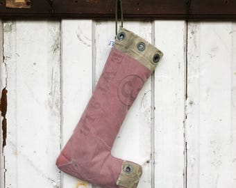 3 - reconstructed vintage mail bag christmas stocking