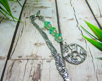 Hummingbird Bookmark Metal Bird Bookmark Green Yellow Flower Czech Bead Caps Yellow AB 8mm Beads Vines Flowers 168B