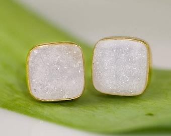 40 OFF - Druzy Stud Earrings - April Birthstone  Stud Earrings - Gemstone Studs - Cushion Cut Studs - Gold Stud Earrings - Post Earrings