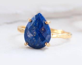 Blue Lapis Lazuli Ring Gold, September Birthstone Ring, Gemstone Ring, Stacking Ring, Tear Drop Ring, Blue Stone Ring, Statement Ring