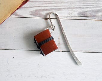 Leather bookmark, recycled bookmark, miniature book charm, book mark, page holder, page marker, book lover, book jewelry -  brown