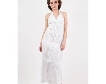 FLASH SALE... Vintage white fringe maxi dress / 1970s Halter neck column dress with extra long chainette fringe / XS
