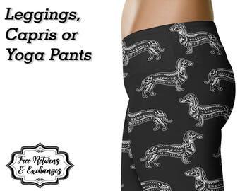 Dachshund Leggings, Yoga Pants, Capris • Doxie Mom Wiener Dog Love Weiner Dog Weenie Dog Sausage Dog Lover Clothes Womens Clothing Gift