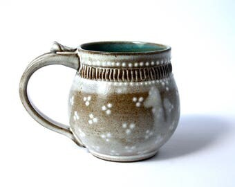 Pottery Mug, Ceramic Handmade Wheel-Thrown Mug, Dark Clay White Glaze by RiverStone Pottery