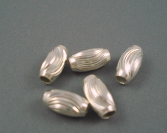 Destash Sterling Silver Oval Bead 6MM x 13MM with 3MM inside Hole FIVE Pieces
