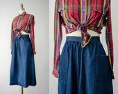jean skirt | patch pocket skirt | high waist skirt | blue denim skirt | aline skirt | denim midi skirt
