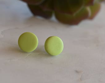Green polymer clay earrings, 12mm studs, handmade in Australia, hypoallergenic, gift idea