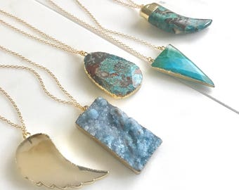 Long Stone Necklace. Long Boho Necklace. Long Gold Gemstone Necklace. Wing, Horn, Stone Necklace. Unique Jewelry.