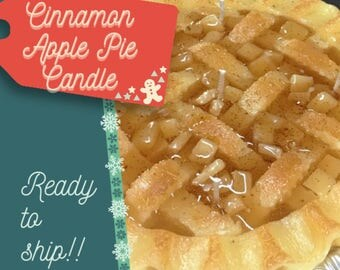 Cinnamon APPLE  PIE CANDLE - 9 inches / Bakery Candles / Pie Candles / Dessert Candles / Home Decor / Fake Desserts / Faux Food