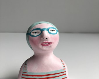 Clay figurine // SWIMMER 95 clay sculpture // grey-blue red-striped bathing suit // grey-blue swim cap & goggles // original art // talisman