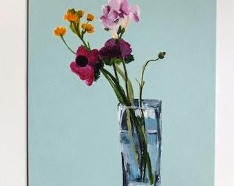 Flower acrylic painting // Ranunculus, Anemone, Ornitho, Freesia # 4 // original art acrylic still life painting on panel