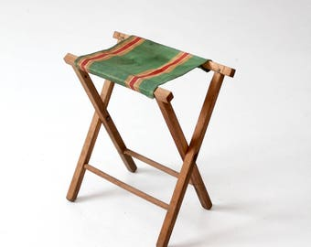 vintage camp stool, canvas stripe seat folding stool