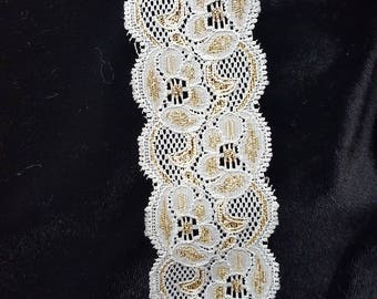 Ivory Stretch and gold Trim Lace trim