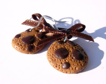 Earrings gourmet chocolate cookies - polymer clay jewelry