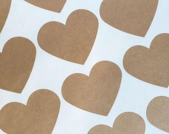 GLAM SALE Large Kraft Brown Heart Stickers, Party Favor Stickers, Wedding Favor Stickers (30)