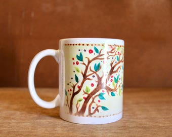 "Anne of Green Gables ""What a splendid day!"" Ceramic Mug - Heat-Press Sublimation of Original Artwork - Watercolor tree on pale yellow - 12oz"