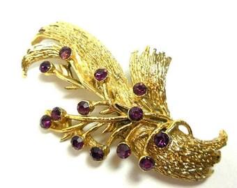 SALE Gold Purple Brooch Vintage amethyst Rhinestones Modern Spray