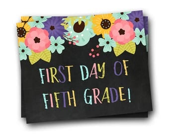 First Day of School Sign, First Day of Fifth Grade Sign, Back to School Sign
