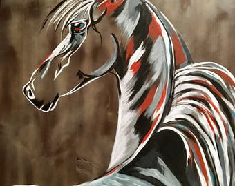 """Colorful Arabian Horse Painting - """"Smoke and Ashes"""""""