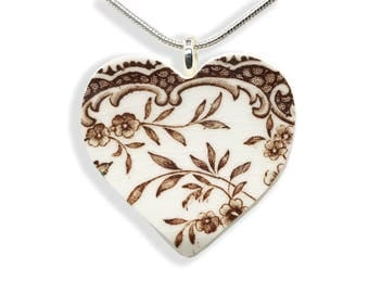 Victorian Heart Necklace. Heart Necklace Gift. Gift for Her. Hand Made Jewelry. Brown. Vintage Broken China. Gift Box. Silver Chain Included