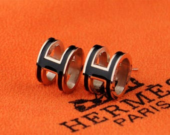 HERMES POP H Enamel Rose Gold Earrings