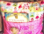 Read  a book Pillow - Embroidered Curly Hair Girl - Kids Decor